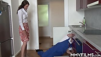Housewife Anal Stockings Cumshot